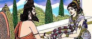 Vidyadhari giving the garland to Durvasa
